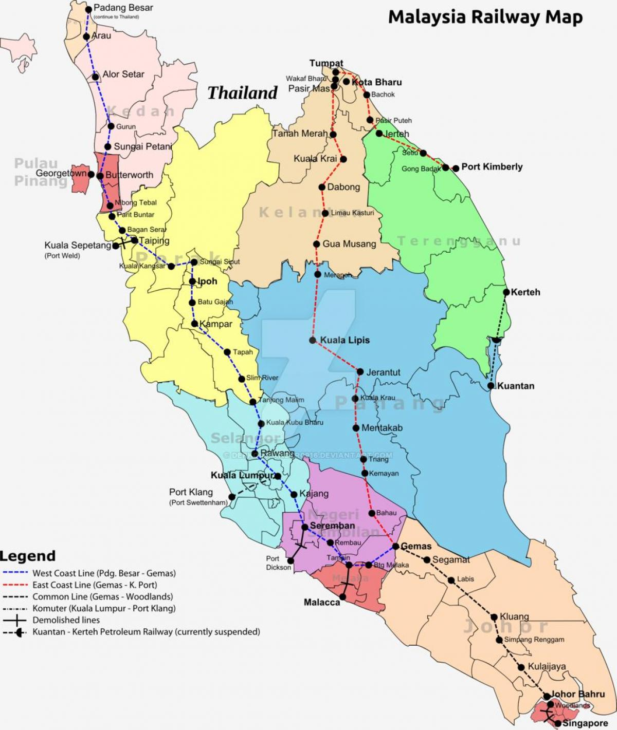 Malesian Rautateiden Kartta Juna Kartta Malesia Kaakkois Aasia